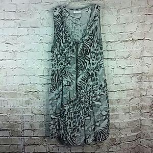 Pinky Dress Size Medium Black Gray Leopard